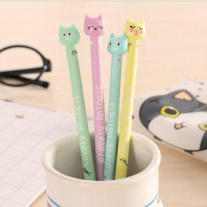 penna gel gatto pastello