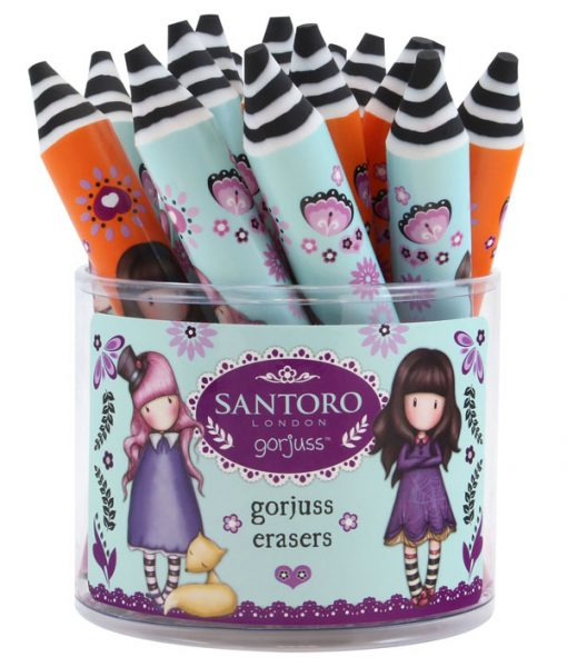 798GJD02_Gorjuss_BTS_Pencil_Shaped_Erasers_matita-matite-santoro-farfalla-farfalle-fiori-fiore-bimba-bambina-arancione-azzurro-gomma-gomme-eraser