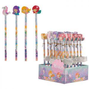 matita-gomma-pencil-eraser-cancellare-colorata-colorate-sirenetta-rosa-viola-sta73