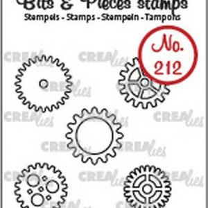 timbri-silicone-clear-stamp-crealies-bits-pieces-5x-gears-small-ingranaggi