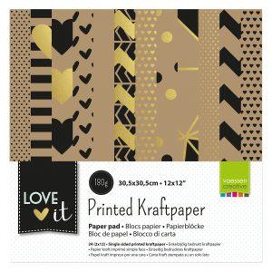 Blocco di carte craft naturali con fantasie in oro e nero. Disegni geometrici, puntini e cuori