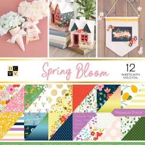 Blocco carte scrapbooking Primavera fiori ape scritte e fantasie geometriche