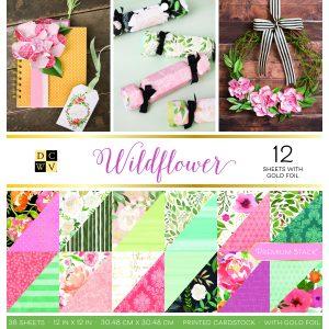 Blocco carte scrapbooking fiori, scritte vintage