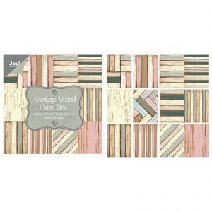 Blocco carte per scrapbooking tonalità legno vintage