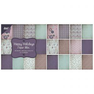 Blocco carte scrap violetto vintage Albero di Natale con neve