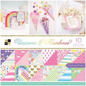 Blocco carte scrap con unicorni, arcobaleni, gelati, ciambelle