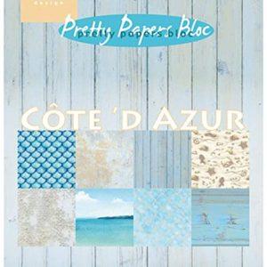 Blocco cartoncini scrapbook tema costa azzurra con mare , spiaggia e conchiglie