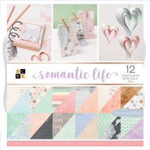 Blocco carte romantiche colori pastello per scrapbooking