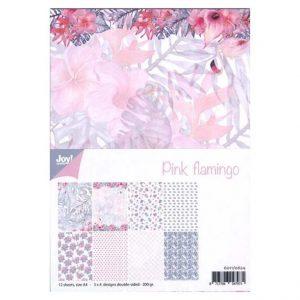 Cartoncini con fenicotteri rosa e fiori per scrap booking