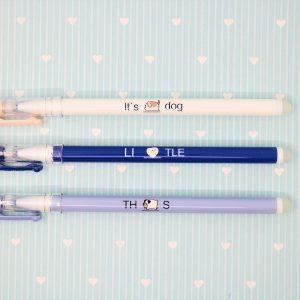 Penne Pen Cancellabili Cagnolini Blu Viola e Bianca